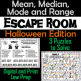 Mean, Median, Mode, and Range Activity: Escape Room Halloween Math Game