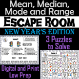 Mean, Median, Mode, and Range Activity: Escape Room New Year's Math Game