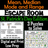 Mean, Median, Mode, and Range Activity: Escape Room St. Patrick's Day Math Game