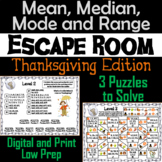 Mean, Median, Mode, and Range Activity: Escape Room Thanksgiving Math Game