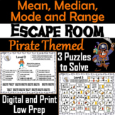 Mean, Median, Mode, and Range Activity: Pirate Themed Escape Room Math