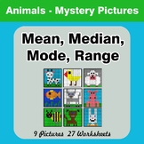 Mean, Median, Mode, and Range - Animals Mystery Pictures