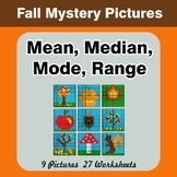 Mean, Median, Mode, and Range - Autumn Mystery Pictures