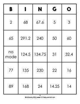 Mean, Median, Mode and Range Bingo