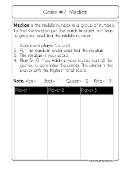 Mean, Median, Mode, and Range Card Game