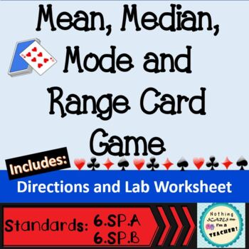 Mean, Median, Mode and Range Card Game