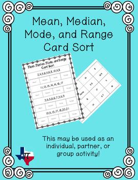 Mean, Median, Mode, and Range Card Sort