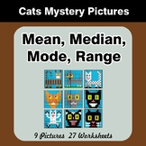 Mean, Median, Mode, and Range - Cats Mystery Pictures