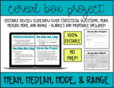 Mean, Median, Mode, and Range Cereal Box Project   Editabl