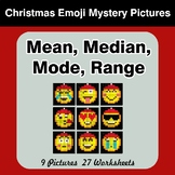 Mean, Median, Mode, and Range - Christmas Emoji Mystery Pictures