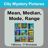 Mean, Median, Mode, and Range - City Mystery Pictures