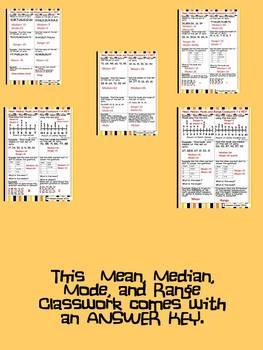 Mean, Median, Mode, and Range Classwork