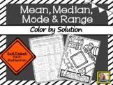 Mean Median Mode and Range Worksheet Color by Solution
