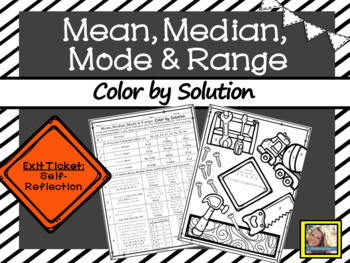 Mean Median Mode and Range Worksheet Color by Solution