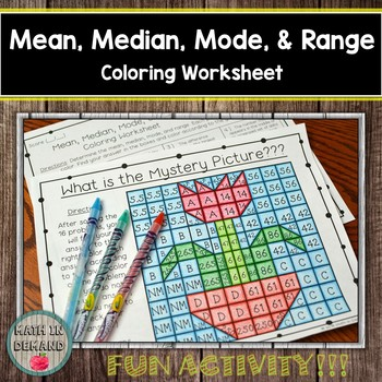 Mean, Median, Mode, and Range Coloring Worksheet by Math in Demand