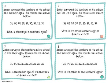 Mean, Median, Mode, and Range Differentiated Task Cards