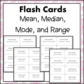 Mean, Median, Mode, and Range Flash Cards or Task Cards