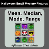 Mean, Median, Mode, and Range - Halloween Emoji Mystery Pictures