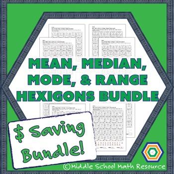 Mean, Median, Mode, and Range Hexagons - $ Saving Bundle
