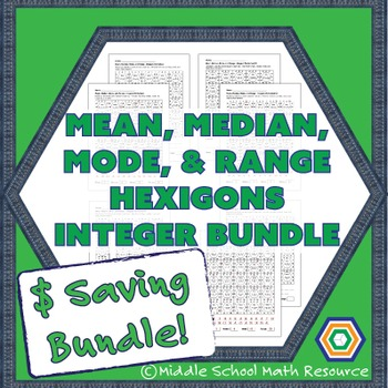Mean, Median, Mode, and Range Hexagons - Integer Bundle -
