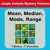 Mean, Median, Mode, and Range - Jungle Animals Mystery Pictures