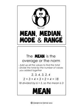 Mean, Median, Mode and Range (MMMR) Packet