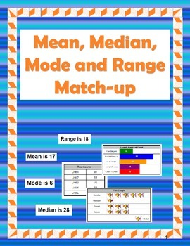 Mean, Median, Mode, and Range Matching Activity
