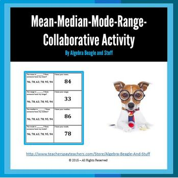 Mean, Median, Mode and Range Collabortive Activity