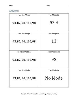 Mean, Median, Mode and Range Matching Activity