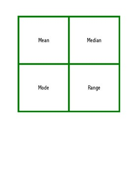 Mean, Median, Mode, and Range Matching Game