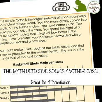 Mean, Median, Mode and Range Math Detective Activity for Google Drive