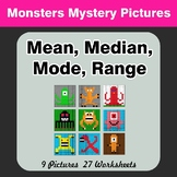 Mean, Median, Mode, and Range - Monsters Mystery Pictures