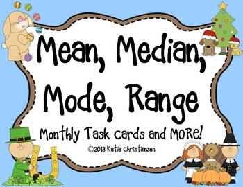 Average: Mean, Median, Mode, and Range Monthly Task Cards