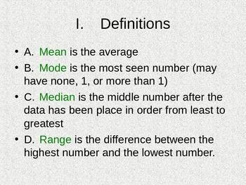 Mean, Median, Mode and Range Notes