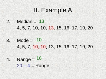 Mean, Median, Mode and Range Notes