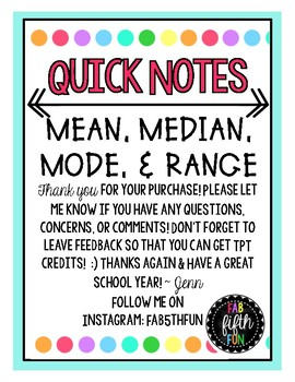 Mean, Median, Mode, and Range Notes