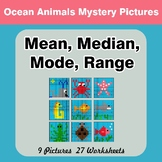 Mean, Median, Mode, and Range - Ocean Animals Mystery Pictures
