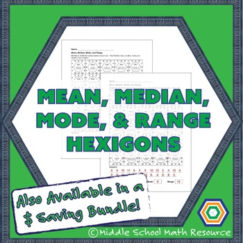 Mean, Median, Mode, and Range Hexagon Partner Activity | Data Worksheet
