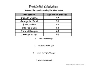 Mean, Median, Mode and Range President's Day Freebie