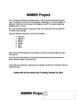 Mean, Median, Mode, and Range Project