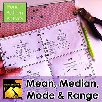 Mean, Median, Mode, and Range - Punch Pattern Activity