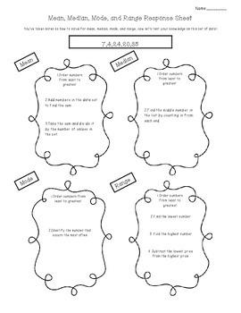Mean, Median, Mode, and Range Response Sheet (SOL 5.16)