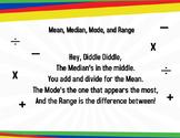Mean, Median, Mode, and Range Rhyme Poster
