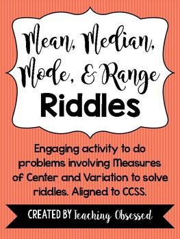 Mean, Median, Mode, and Range Riddles *CCSS Aligned!*