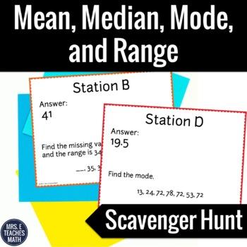 Mean, Median, Mode, and Range Scavenger Hunt