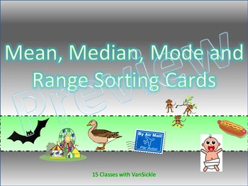 Mean, Median, Mode and Range Sorting Cards