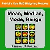 Mean, Median, Mode, and Range - St. Patrick's Day Emoji My