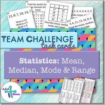 Mean, Median, Mode and Range (Statistics: TEAM CHALLENGE task cards)