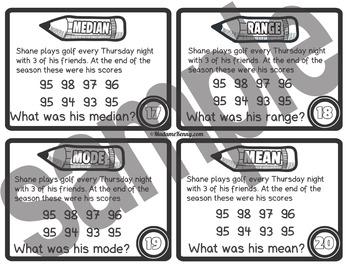 Mean, Median, Mode and Range Task Cards