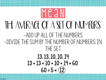 Mean, Median, Mode, and Range Task Cards & Anchor Charts